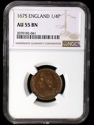 Great Britain England 1675 1/4 Penny *NGC AU-55* Farthing Lustrous Looks Great