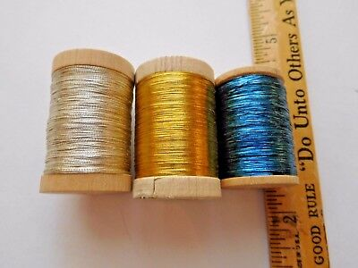 Lot of 3 Antique French Embroidery Thread Wood Spools Blue Silver & Gold