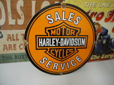 Original Vintage Harley Davidson Motorcycle Sales And Service Porcelain Sign