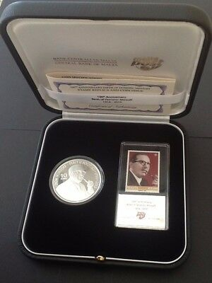 Malta 100th Anniversary of the Birth of Dom Mintoff Stamp Replica & Coin VF