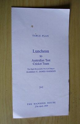 Ashes Series 1964, Luncheon, Mansion House, London. Simpson, Jarman, Redpath etc