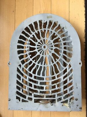 "Antique Cast Iron Heat Arch Top Dome Ornate Grate Vent Register 14 1/2"" x 11"""