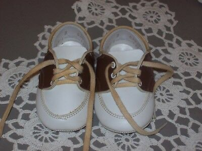 Vintage White & Brown Baby Saddle Shoes Size 2