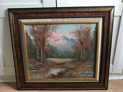 Large Signed Oil Painting On Board of Landscape In Ornate frame