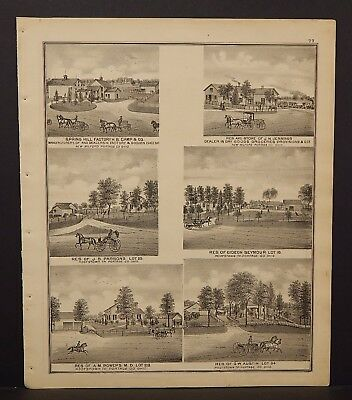 Ohio Portage County Map Spring Hill Factory H.B. Camp & CO. Dbl Side 1874 J17#37