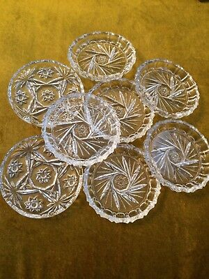 Set Of Eight Cut Crystal Wine Coasters/ Nut-Candy Trinkets
