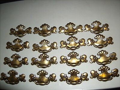 VTG Keeler Brass Colonial CHIPPENDALE Drawer FURNITURE Pulls Set OF 16