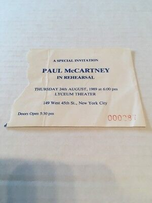 Paul Mccartney 8/24/89 Ticket Stub Beatles In Rehearsal Lyceum Theater NYC