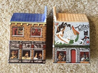 Polychroom Dutch Ceramic Mini Tattoo House & Red Light House Hand Painted #9 #10