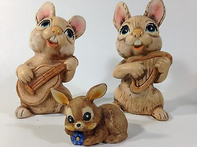 Vintage Handmade in Korea Ceramic Brown Bunny Rabbits w Baby set of 3 Figurines