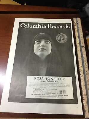 Vintage Ad 1919 Columbia Records Rosa Ponselle EARLY AD RARE!
