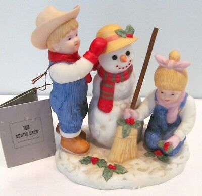 "Figurine Home Interiors Denim Days ""Holiday Time Snowman"" 2003 Mint with Tag"