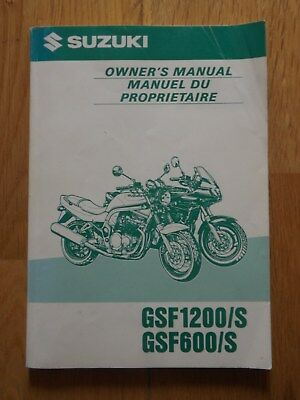 Original Owners Manual for Suzuki GSF1200/S and GSF600/S