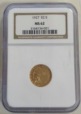 1927 $2.50 Gold Indian NGC MS62 Quarter Eagle and free shipping