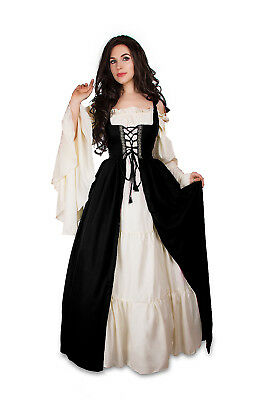 Renaissance Medieval Irish Costume Black Over Dress ONLY Fitted Bodice S/M