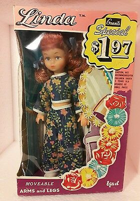 RARE 1950s 60s Vintage W T Grant Grants Department Store Linda Doll Mint in Box!