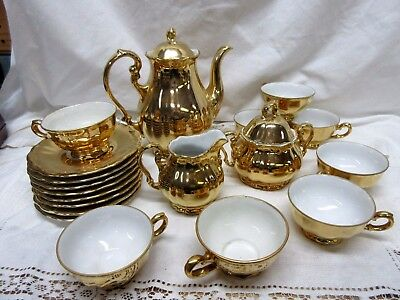 Vintage GOLD Plated BAVARIA Teapot, Sugar & Cream, 8 Cups & Saucers