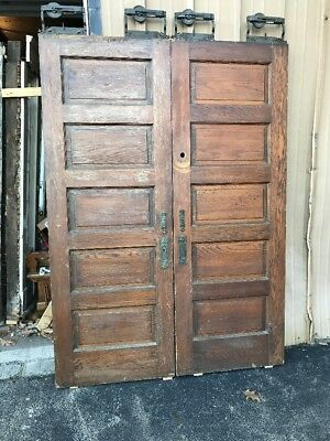Cm 227 Match Pair Antique Oak Pocket Door Raise Panel 5u0027 X 84