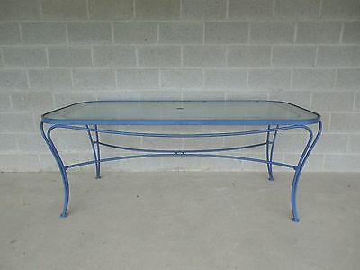 Vintage Woodard Hampton Park Glass Top Dining Table 72 x 36