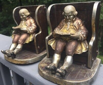 Antique Pot Metal Bookends, Remarkable, Rare, English Man Reading