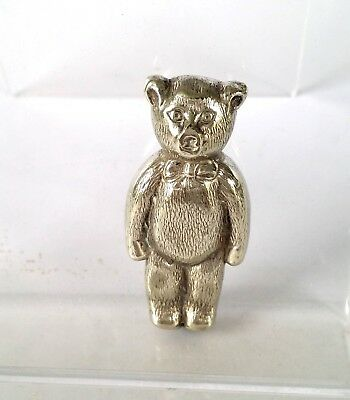 Antique Silver White Metal Teddy Bear  Early 1900's Baby Rattle/teether