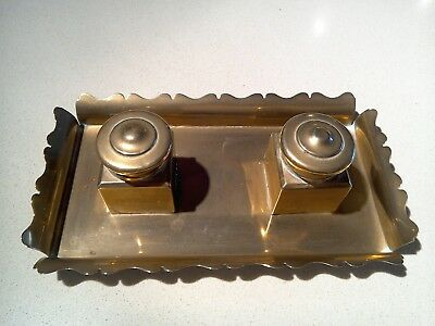 Brass ink wells with pen tray adjoined, glass liners