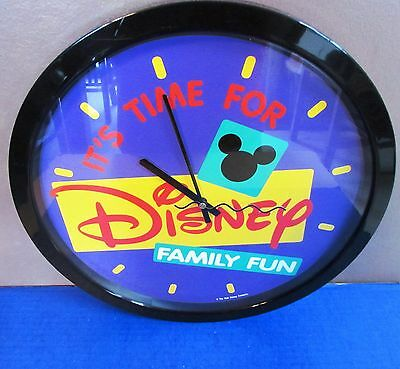 """IT'S TIME FOR DISNEY FAMILY FUN"" Circular Wall Clock 14 1/2"" - Works Flawlessly"