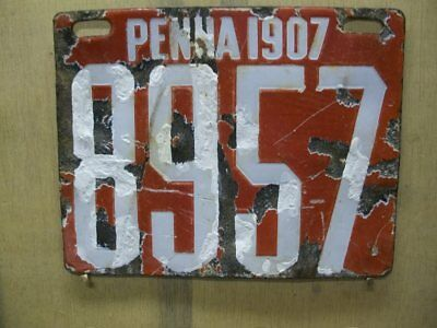 1907 Pennsyvania Porcelain License Plate