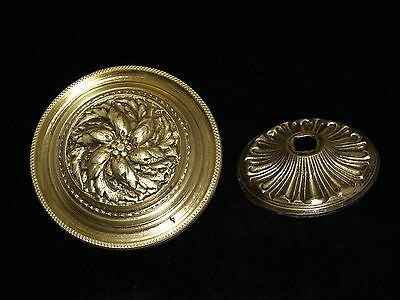 Vintage Greece Solid Brass Large Ornate Door Knob Handle Push/Pull #21
