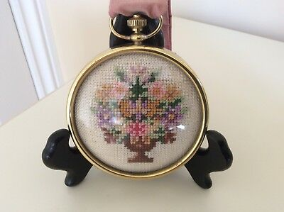 Vintage Petit Point Floral Tapestry In Round Brass Frame