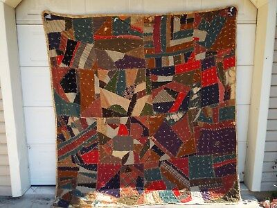 """Antique Hand Made Quilted CRAZY QUILT 84"""" x 90"""" - Hand Stitched Primitive"""