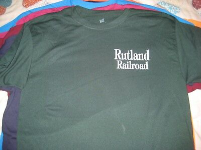 RUTLAND RAILROAD Defunct Vermont Forest Green T Shirt Size LARGE