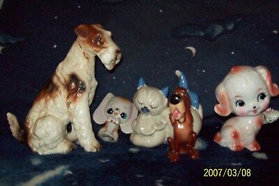 "Vintage Bone China 6"" Wire Hair Terrier,  2 dogs & 1 cat & 1 Disney Blood Hound"