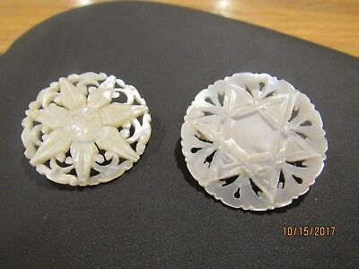 2 Vintage Bethlehem Mother of Pearl pins hand carved Star of David old jewelry