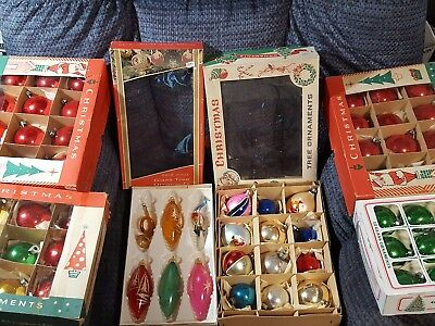 Vintage Lot of 6 boxes of 66 Glass Christmas Ornaments in original boxes