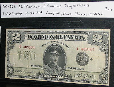 Dominion of Canada $2 Bank Note Dated July 23, 1923