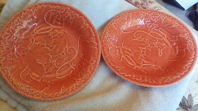 Pair of Vintage Majolica Orange Dishes,Plates,Bowls.