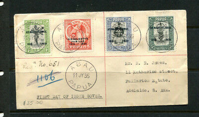 Papua 1935 Fdc Jubilee Registered First Day Stamp Cover Abau Papua (2 Scans)
