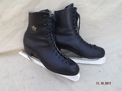 Lico Mens Black Leather Ice Skates,size 44 Euro 10 Uk,ice Crown Blades,unused