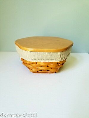 "Longaberger 2000 8"" inch Generations Basket with Woodcrafts Lid"