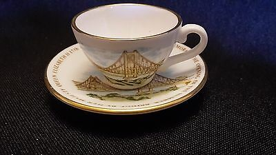 Caverswall miniature china cup and saucer - opening of the Humber Bridge 1981