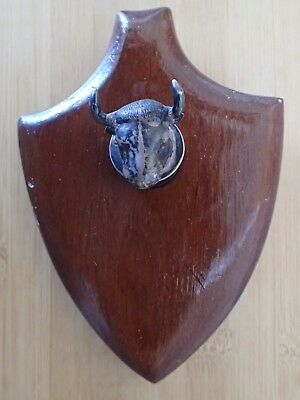 Sterling Silver AR Industria Peruana Signed Mounted Bull's Head Plaque