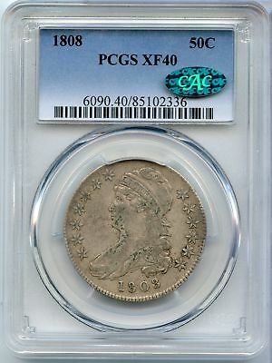 1808 Capped Bust Half Dollar - PCGS & CAC XF 40 Certified - JX700