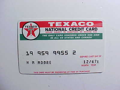 1967 Texaco Gas Station National Credit Card Red And White Embossed Vg+