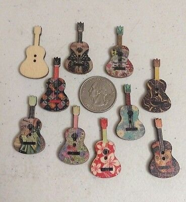 "Pkg of GUITAR SHAPED 2-hole Wood Buttons 1-3/8"" x 3/4"" 36mm Scrapbook Craft 5062"