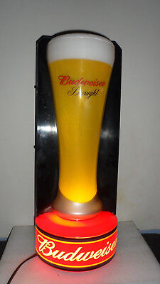 Rare Budweiser Draught Tall Beer Glass Lighted Sign  2001 19""