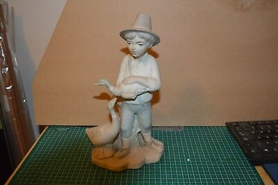 porcelain figure 290mm high male with duck and goose