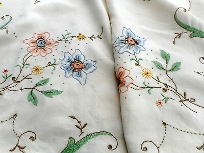 Large Madeira lace tablecloth with cut work & hand embroidered flowers