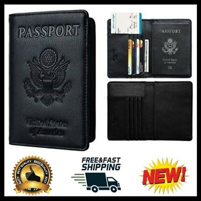 Genuine Leather Passport Cover Holder RFID Blocking Travel Wallet Vintage Black