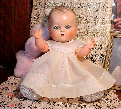 """VTG 1950s Small 11"""" Betsy Wetsy Baby Doll Hard Plastic Vinyl Ideal Cries Drink/W"""